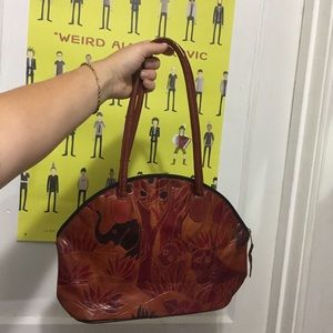 Vintage STAMPED Leather African Animal Purse